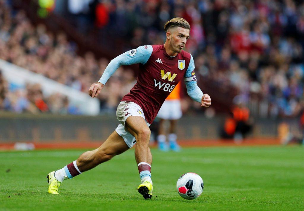 Aston Villa's Jack Grealish in action v Brighton & Hove Albion