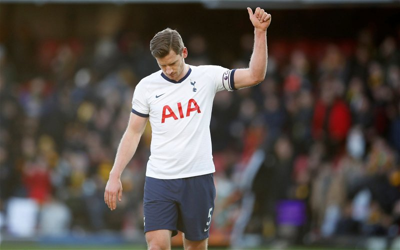 Image for Tottenham Hotspur: Club legend says Spurs miss Jan Vertonghen
